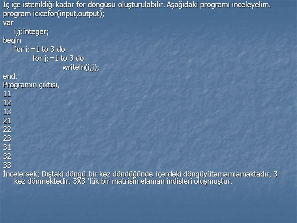 İç içe istenildiği kadar for döngüsü oluşturulabilir. Aşağıdaki programı inceleyelim. program icicefor(input,output); vari,j:integer;begin for i:=1 to