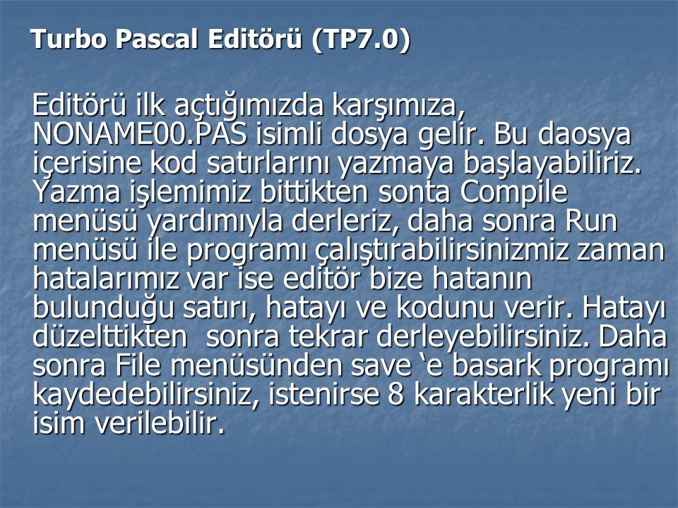 Turbo Pascal Editörü (TP7.0) Turbo Pascal Editörü (TP7.0) Editörü ilk açtığımızda karşımıza, NONAME00.PAS isimli dosya gelir. Bu daosya içerisine kod