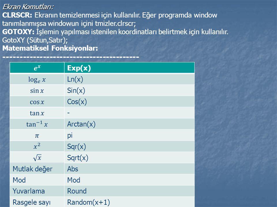 Ekran Komutları: Ekran Komutları: CLRSCR: Ekranın temizlenmesi için kullanılır. Eğer programda window tanımlanmışsa windowun içini tmizler.clrscr; GOT