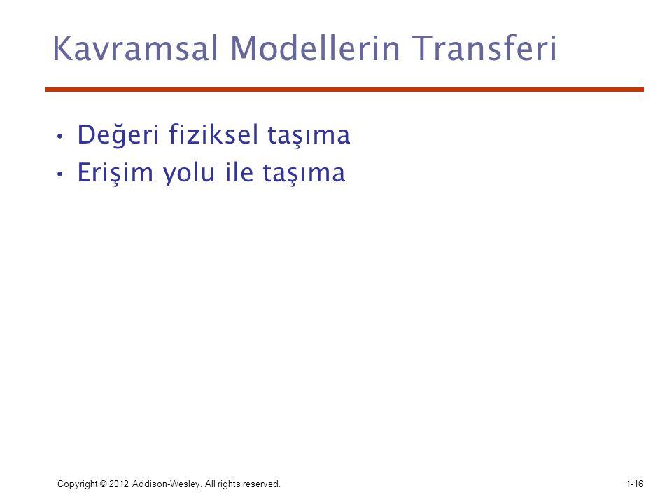 Copyright © 2012 Addison-Wesley. All rights reserved.1-16 Kavramsal Modellerin Transferi Değeri fiziksel taşıma Erişim yolu ile taşıma