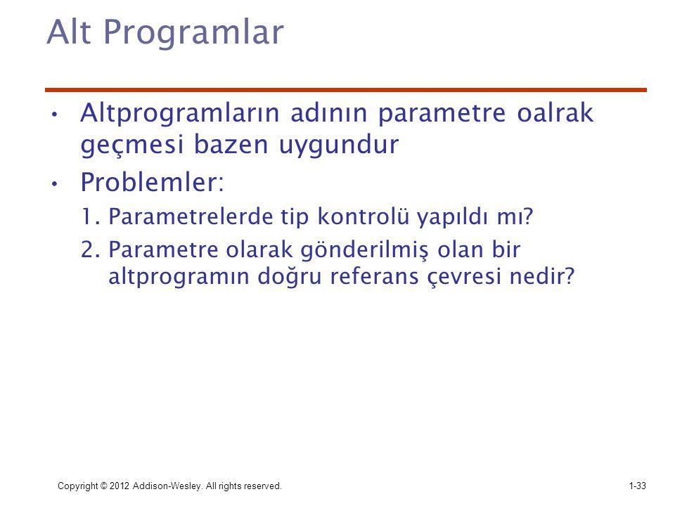 Copyright © 2012 Addison-Wesley. All rights reserved.1-33 Alt Programlar Altprogramların adının parametre oalrak geçmesi bazen uygundur Problemler: 1.
