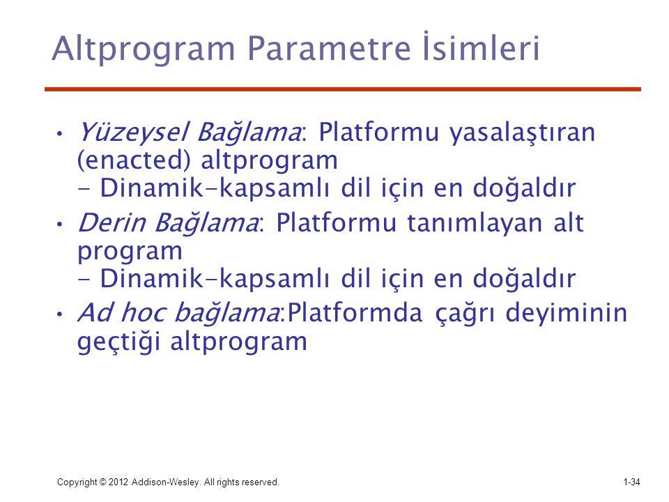 Copyright © 2012 Addison-Wesley. All rights reserved.1-34 Altprogram Parametre İsimleri Yüzeysel Bağlama: Platformu yasalaştıran (enacted) altprogram