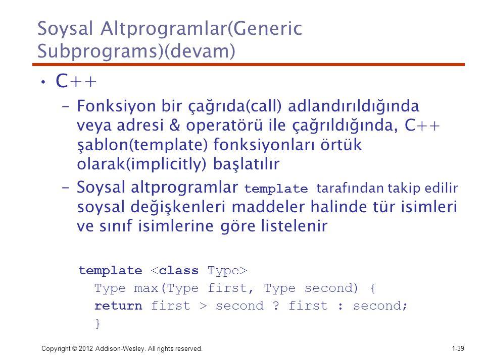Soysal Altprogramlar(Generic Subprograms)(devam) C++ –Fonksiyon bir çağrıda(call) adlandırıldığında veya adresi & operatörü ile çağrıldığında, C++ şab