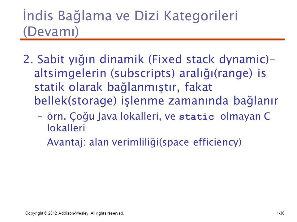 Copyright © 2012 Addison-Wesley. All rights reserved.1-30 İndis Bağlama ve Dizi Kategorileri (Devamı) 2. Sabit yığın dinamik (Fixed stack dynamic)- al