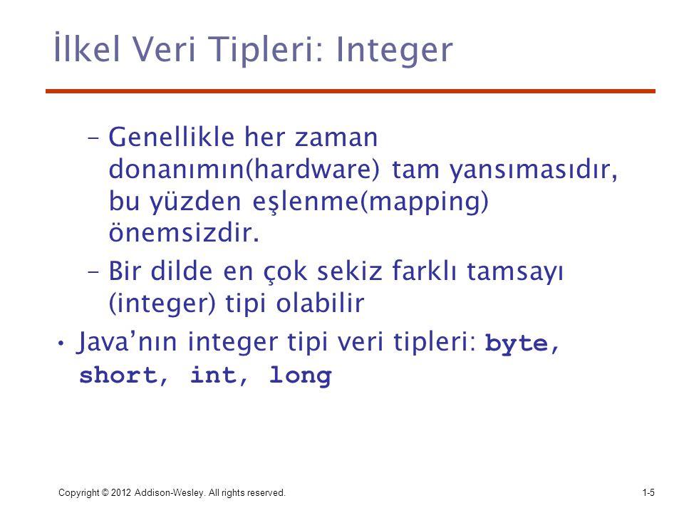 Copyright © 2012 Addison-Wesley. All rights reserved.1-5 İlkel Veri Tipleri: Integer –Genellikle her zaman donanımın(hardware) tam yansımasıdır, bu yü