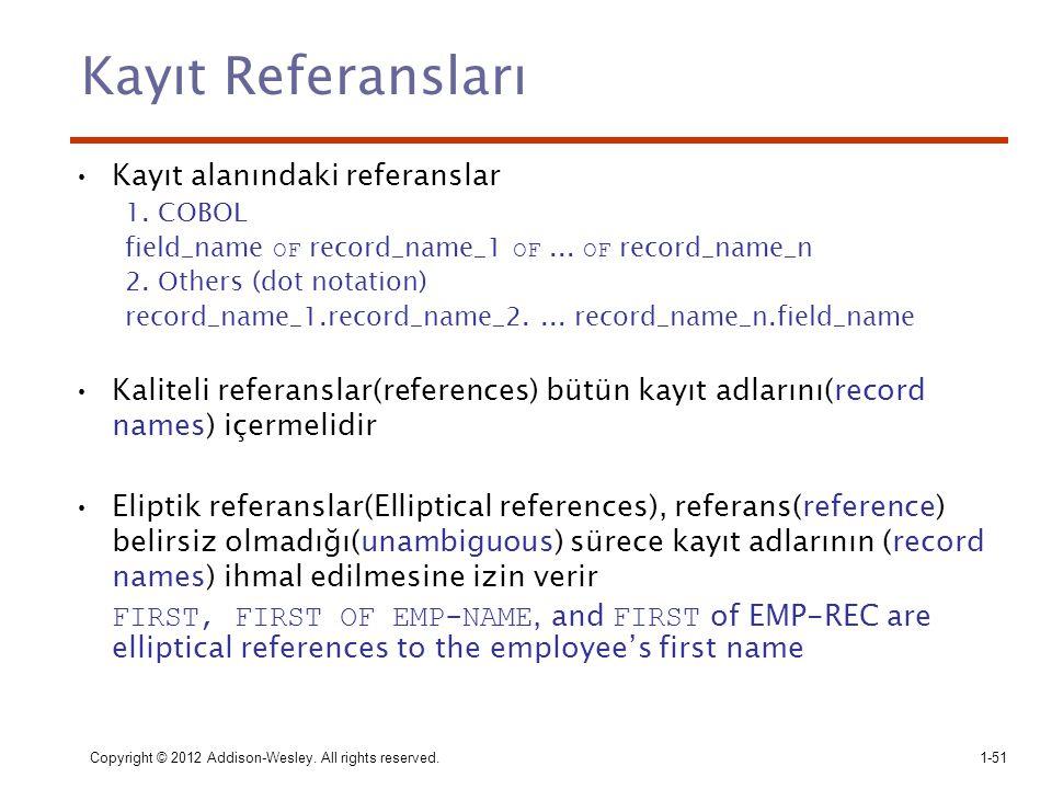 Copyright © 2012 Addison-Wesley. All rights reserved.1-51 Kayıt Referansları Kayıt alanındaki referanslar 1. COBOL field_name OF record_name_1 OF... O
