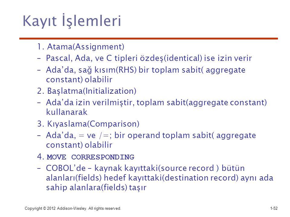 Copyright © 2012 Addison-Wesley. All rights reserved.1-52 Kayıt İşlemleri 1. Atama(Assignment) –Pascal, Ada, ve C tipleri özdeş(identical) ise izin ve
