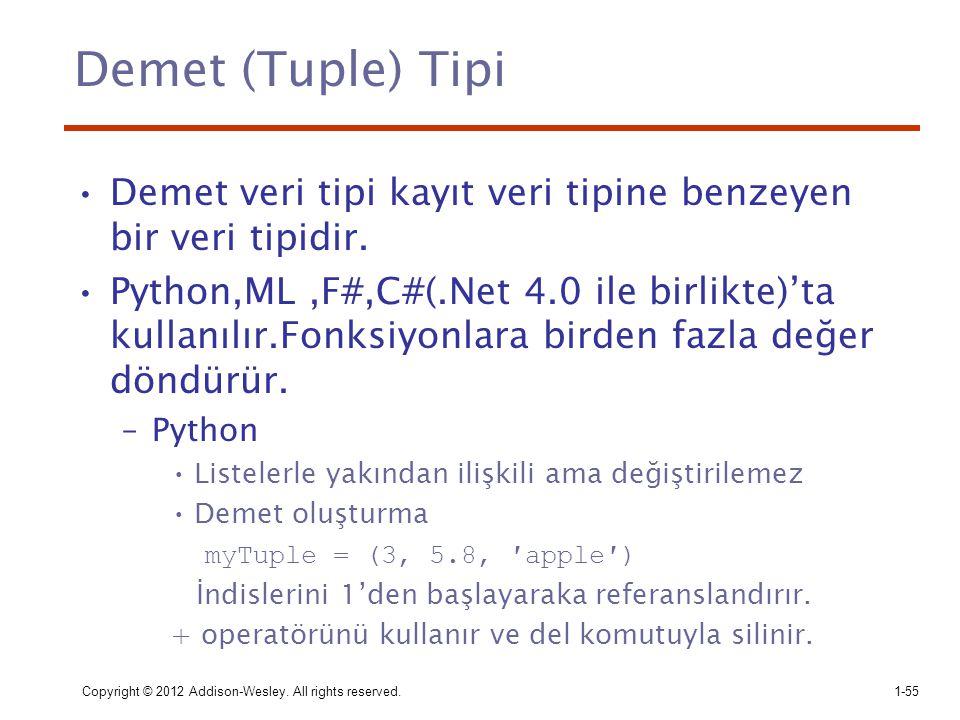 Demet (Tuple) Tipi Demet veri tipi kayıt veri tipine benzeyen bir veri tipidir. Python,ML,F#,C#(.Net 4.0 ile birlikte)'ta kullanılır.Fonksiyonlara bir