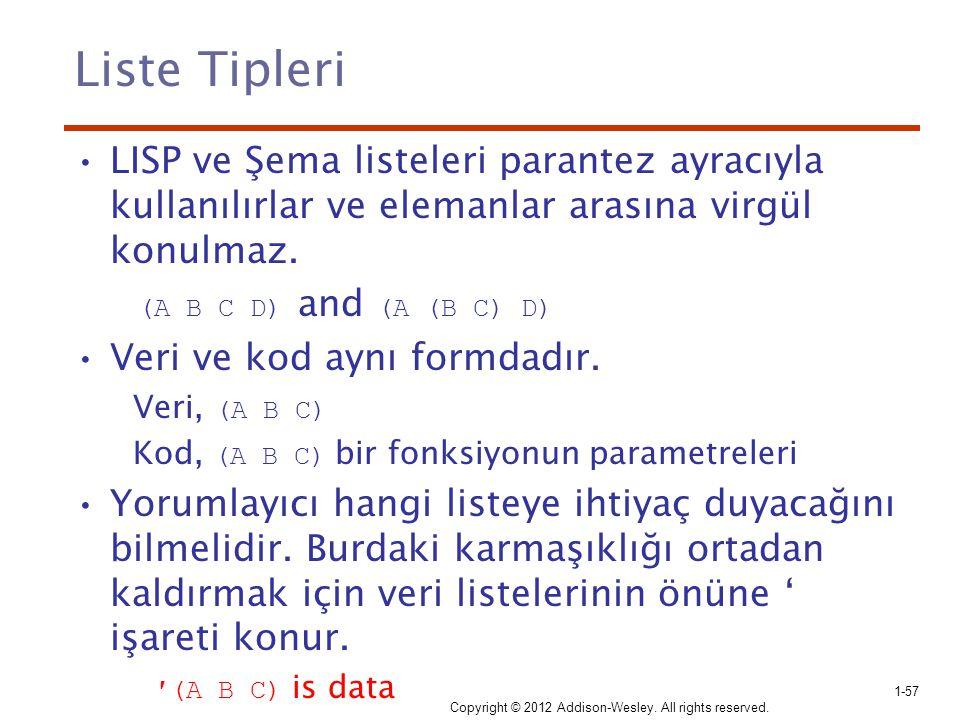 Liste Tipleri LISP ve Şema listeleri parantez ayracıyla kullanılırlar ve elemanlar arasına virgül konulmaz. (A B C D) and (A (B C) D) Veri ve kod aynı