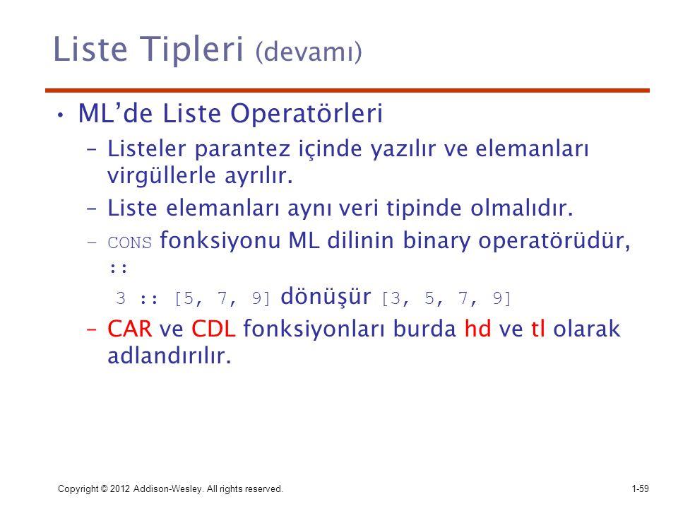 Liste Tipleri (devamı) ML'de Liste Operatörleri –Listeler parantez içinde yazılır ve elemanları virgüllerle ayrılır. –Liste elemanları aynı veri tipin