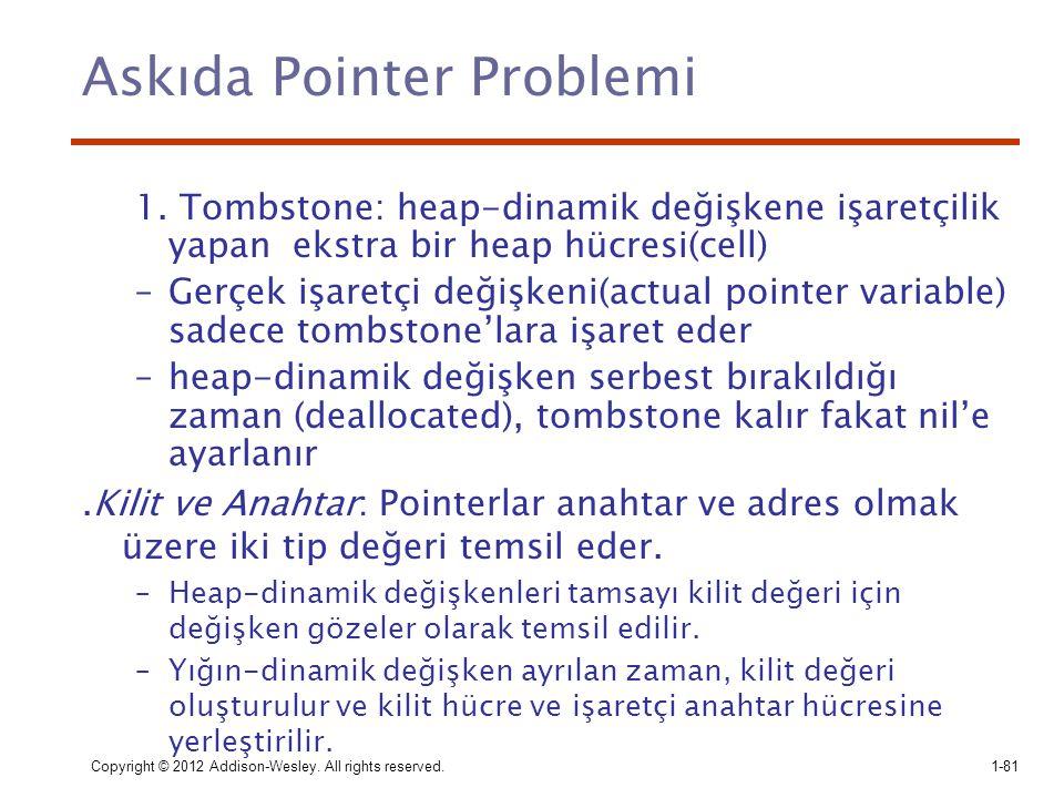 Copyright © 2012 Addison-Wesley. All rights reserved.1-81 Askıda Pointer Problemi 1. Tombstone: heap-dinamik değişkene işaretçilik yapan ekstra bir he