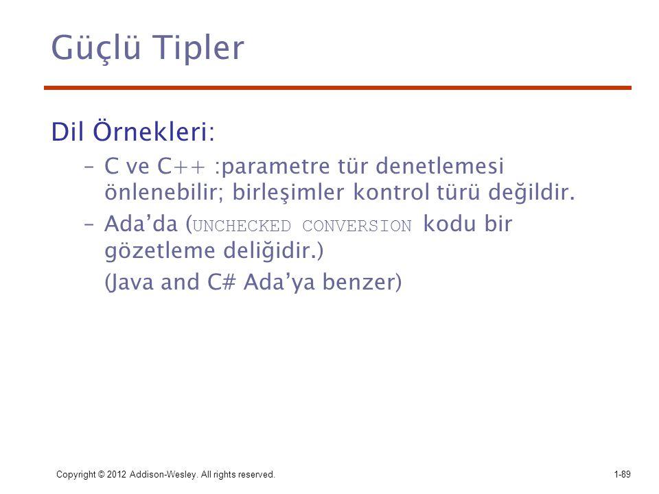 Güçlü Tipler Dil Örnekleri: –C ve C++ :parametre tür denetlemesi önlenebilir; birleşimler kontrol türü değildir. –Ada'da ( UNCHECKED CONVERSION kodu b