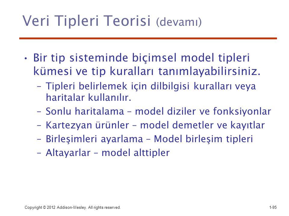 Veri Tipleri Teorisi (devamı) Bir tip sisteminde biçimsel model tipleri kümesi ve tip kuralları tanımlayabilirsiniz. –Tipleri belirlemek için dilbilgi