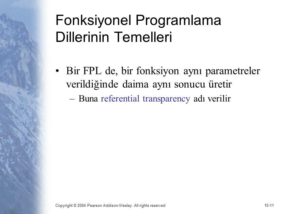 Copyright © 2004 Pearson Addison-Wesley. All rights reserved.15-11 Fonksiyonel Programlama Dillerinin Temelleri Bir FPL de, bir fonksiyon aynı paramet