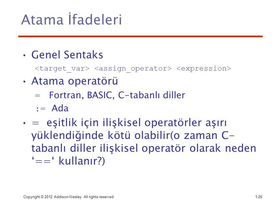 Copyright © 2012 Addison-Wesley. All rights reserved.1-26 Atama İfadeleri Genel Sentaks Atama operatörü = Fortran, BASIC, C-tabanlı diller := Ada = eş