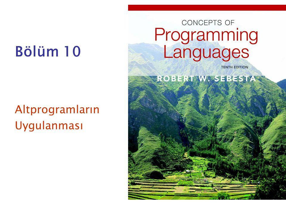 Bölüm 10 Altprogramların Uygulanması