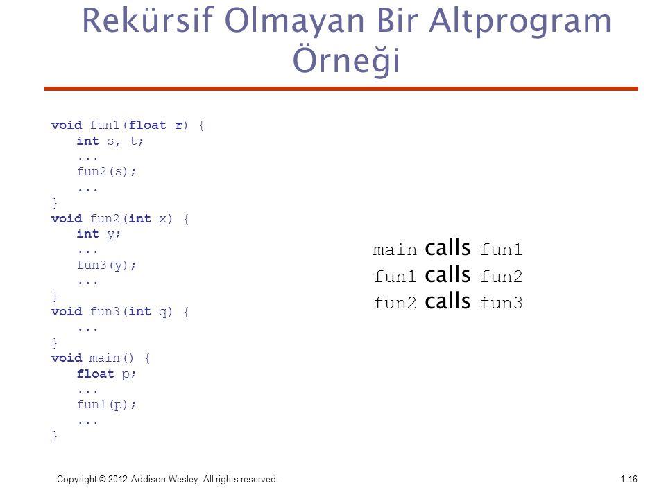 Copyright © 2012 Addison-Wesley. All rights reserved.1-16 Rekürsif Olmayan Bir Altprogram Örneği void fun1(float r) { int s, t;... fun2(s);... } void