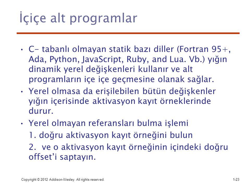 İçiçe alt programlar C- tabanlı olmayan statik bazı diller (Fortran 95+, Ada, Python, JavaScript, Ruby, and Lua. Vb.) yığın dinamik yerel değişkenleri