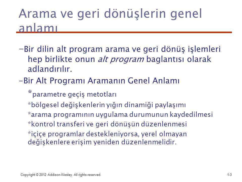 Arama ve geri dönüşlerin genel anlamı - Bir dilin alt program arama ve geri dönüş işlemleri hep birlikte onun alt program baglantısı olarak adlandırıl