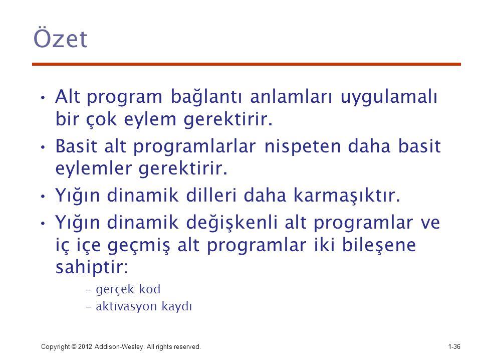 Özet Alt program bağlantı anlamları uygulamalı bir çok eylem gerektirir. Basit alt programlarlar nispeten daha basit eylemler gerektirir. Yığın dinami