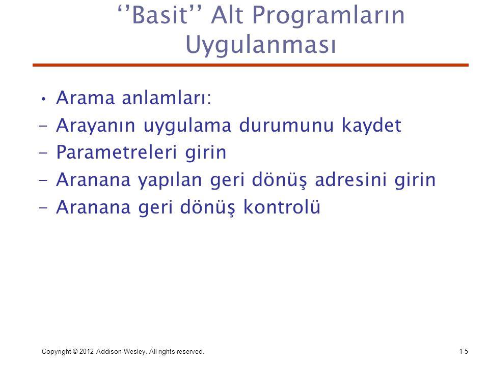 ''Basit'' Alt Programların Uygulanması Arama anlamları: -Arayanın uygulama durumunu kaydet -Parametreleri girin -Aranana yapılan geri dönüş adresini g