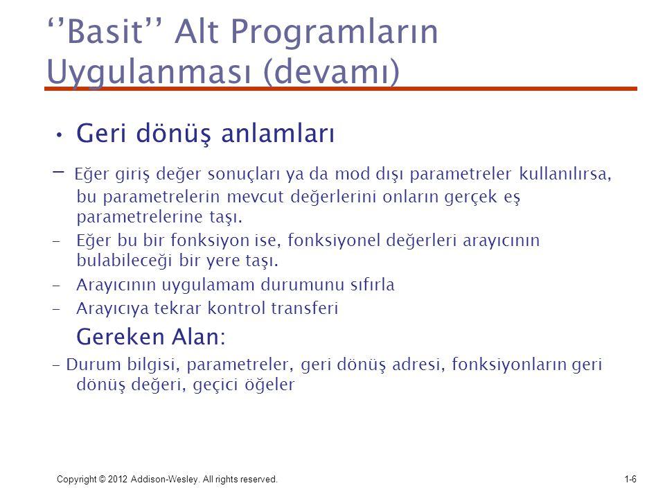 ''Basit'' Alt Programların Uygulanması (devamı) Geri dönüş anlamları - Eğer giriş değer sonuçları ya da mod dışı parametreler kullanılırsa, bu paramet