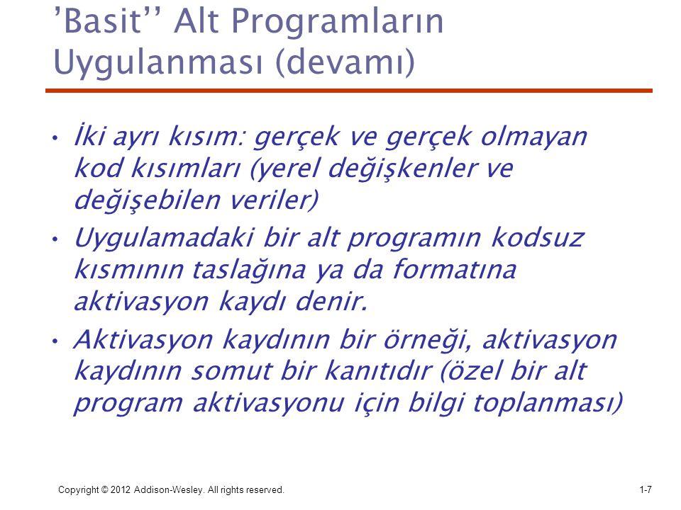 'Basit'' Alt Programların Uygulanması (devamı) İki ayrı kısım: gerçek ve gerçek olmayan kod kısımları (yerel değişkenler ve değişebilen veriler) Uygul