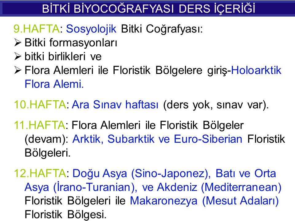 9.HAFTA: Sosyolojik Bitki Coğrafyası: BBitki formasyonları bbitki birlikleri ve FFlora Alemleri ile Floristik Bölgelere giriş-Holoarktik Flora A