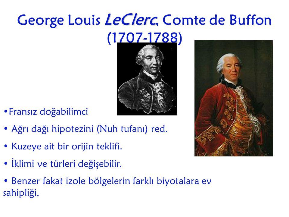 George Louis L LL LeClerc, Comte de Buffon (1707-1788) Fransız doğabilimci Ağrı dağı hipotezini (Nuh tufanı) red. Kuzeye ait bir orijin teklifi. İklim