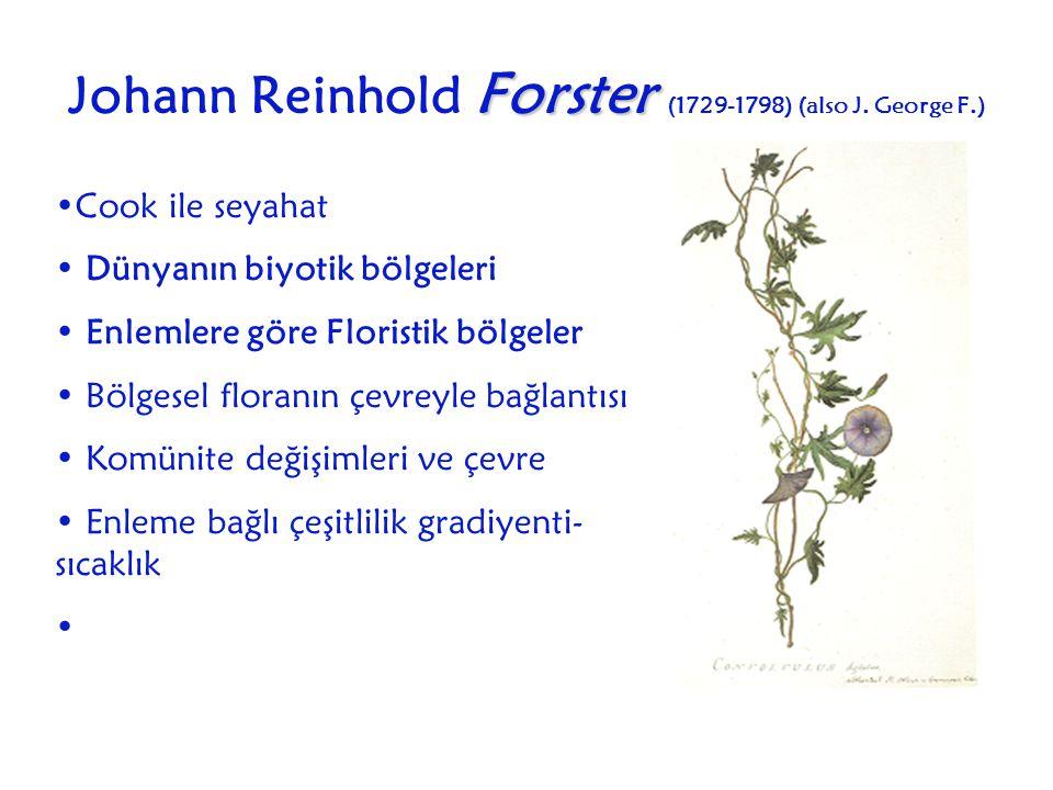 Forster Johann Reinhold Forster (1729-1798) (also J. George F.) Cook ile seyahat Dünyanın biyotik bölgeleri Enlemlere göre Floristik bölgeler Bölgesel