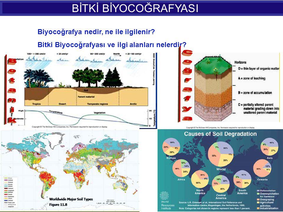 BİTKİ BİYOCOĞRAFYASI Bitki Örtüsünün; Dağılışı Botanikçi için önemli faktörler nelerdir.