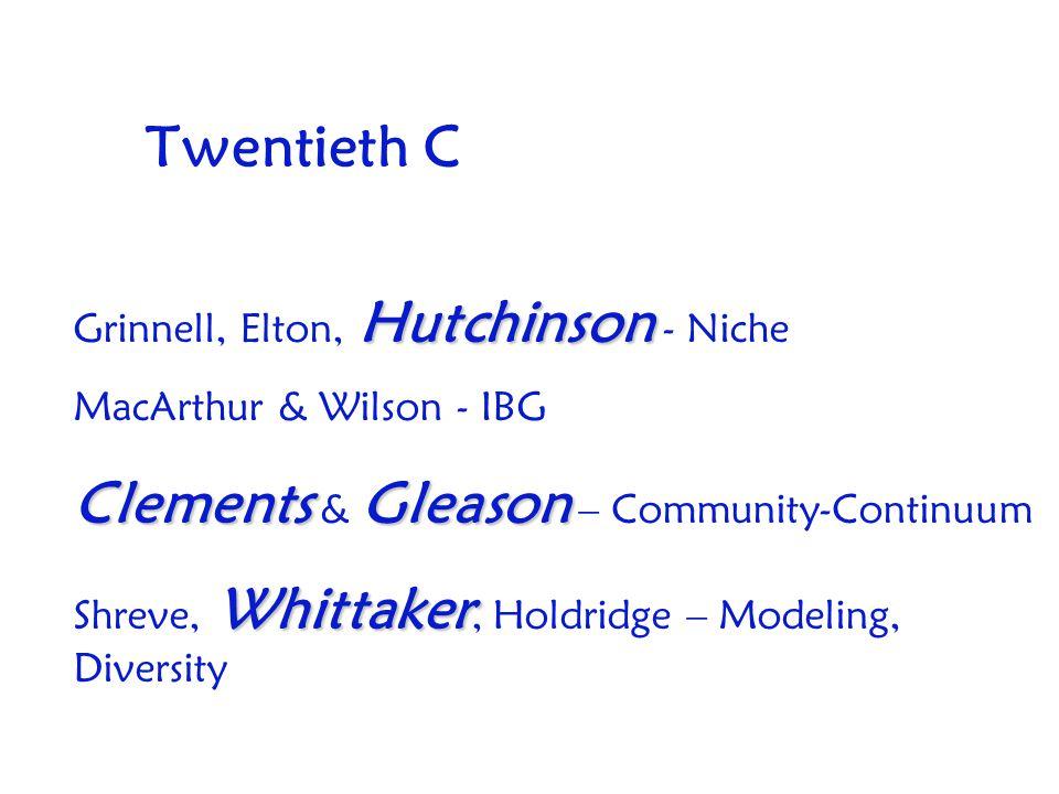 Twentieth C Hutchinson Grinnell, Elton, Hutchinson - Niche MacArthur & Wilson - IBG ClementsGleason Clements & Gleason – Community-Continuum Whittaker