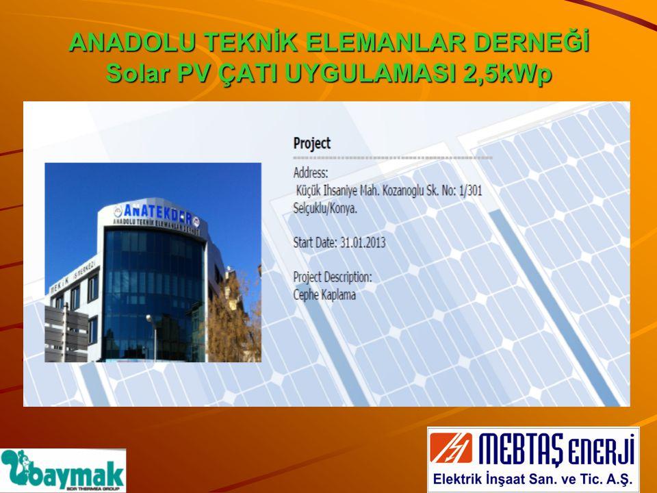 12 adet Baymak fotovoltaik güneş paneli dernek binası çatı alanına kurulmuştur.