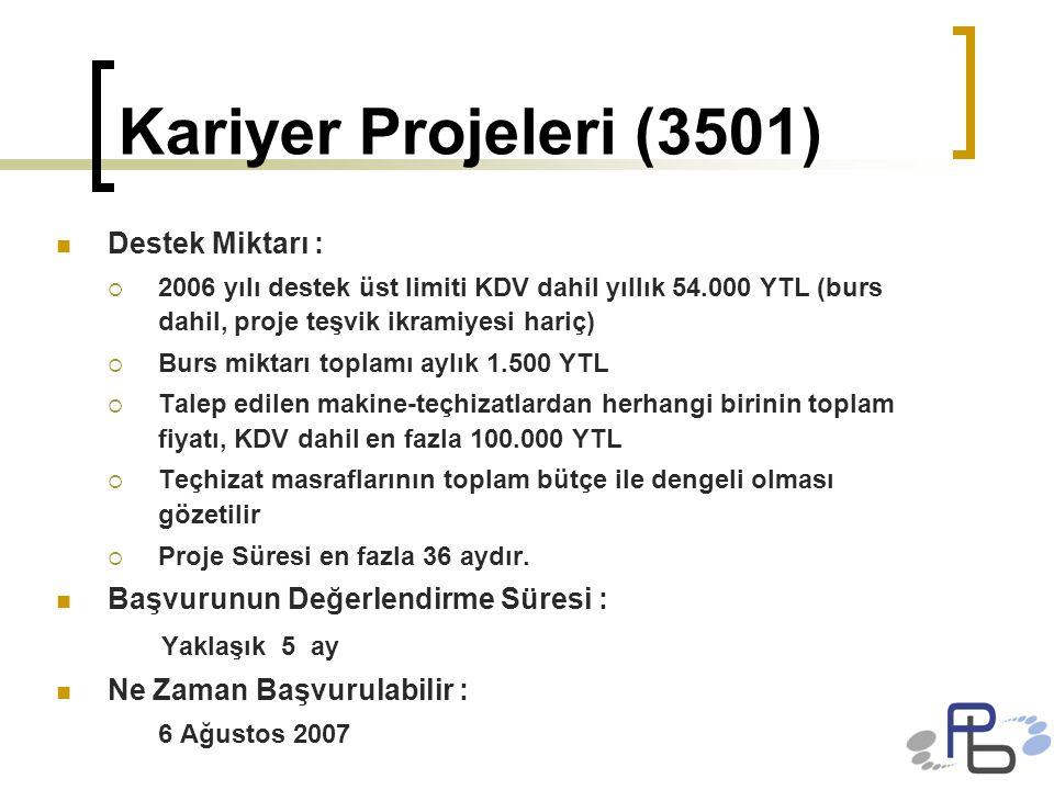 Kariyer Projeleri (3501) Destek Miktarı :  2006 yılı destek üst limiti KDV dahil yıllık 54.000 YTL (burs dahil, proje teşvik ikramiyesi hariç)  Burs