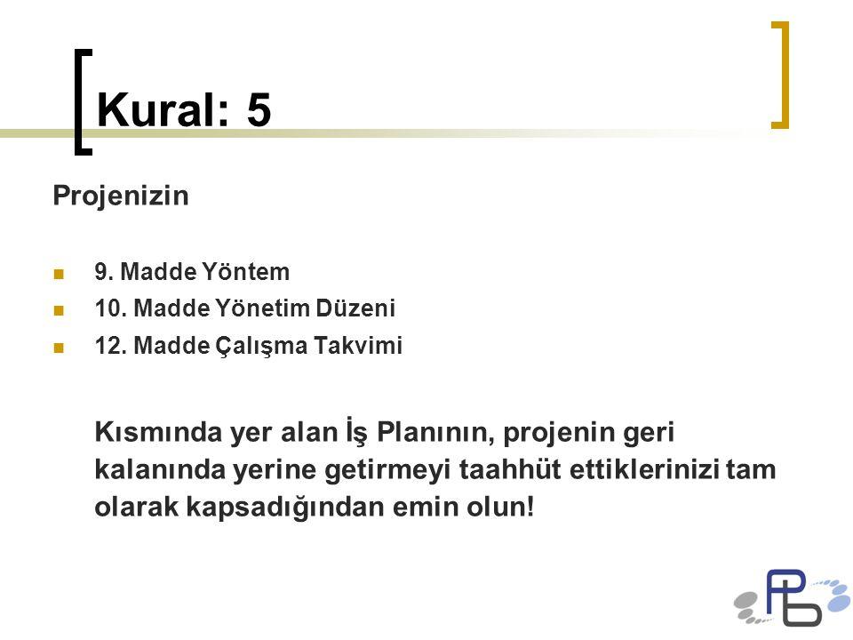 Kural: 5 Projenizin 9. Madde Yöntem 10. Madde Yönetim Düzeni 12. Madde Çalışma Takvimi Kısmında yer alan İş Planının, projenin geri kalanında yerine g