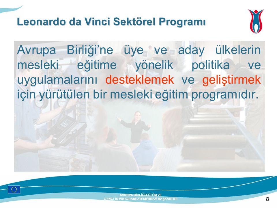 8 AVRUPA BİRLİĞİ EĞİTİM VE GENÇLİK PROGRAMLARI MERKEZİ BAŞKANLIĞI Leonardo da Vinci Sektörel Programı Avrupa Birliği'ne üye ve aday ülkelerin mesleki eğitime yönelik politika ve uygulamalarını desteklemek ve geliştirmek için yürütülen bir mesleki eğitim programıdır.