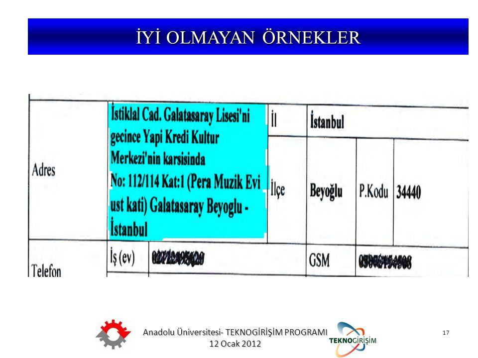 Anadolu Üniversitesi- TEKNOGİRİŞİM PROGRAMI 12 Ocak 2012 17 5746 SAYILI KANUN VE 26953 SAYILI YÖNETMELİK İYİ OLMAYAN ÖRNEKLER