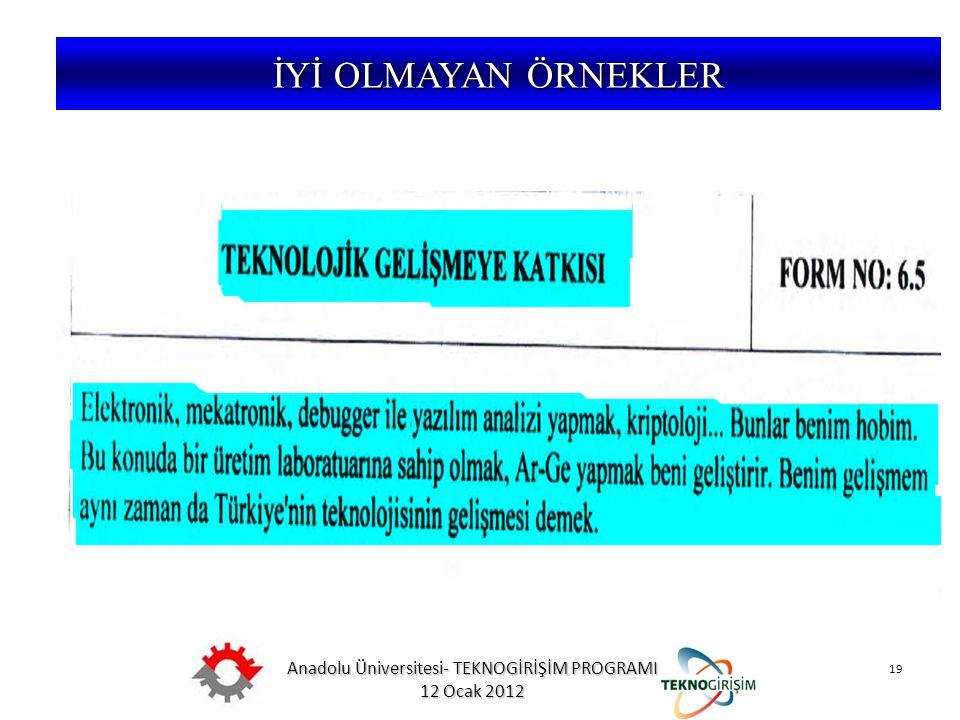 Anadolu Üniversitesi- TEKNOGİRİŞİM PROGRAMI 12 Ocak 2012 19 5746 SAYILI KANUN VE 26953 SAYILI YÖNETMELİK İYİ OLMAYAN ÖRNEKLER