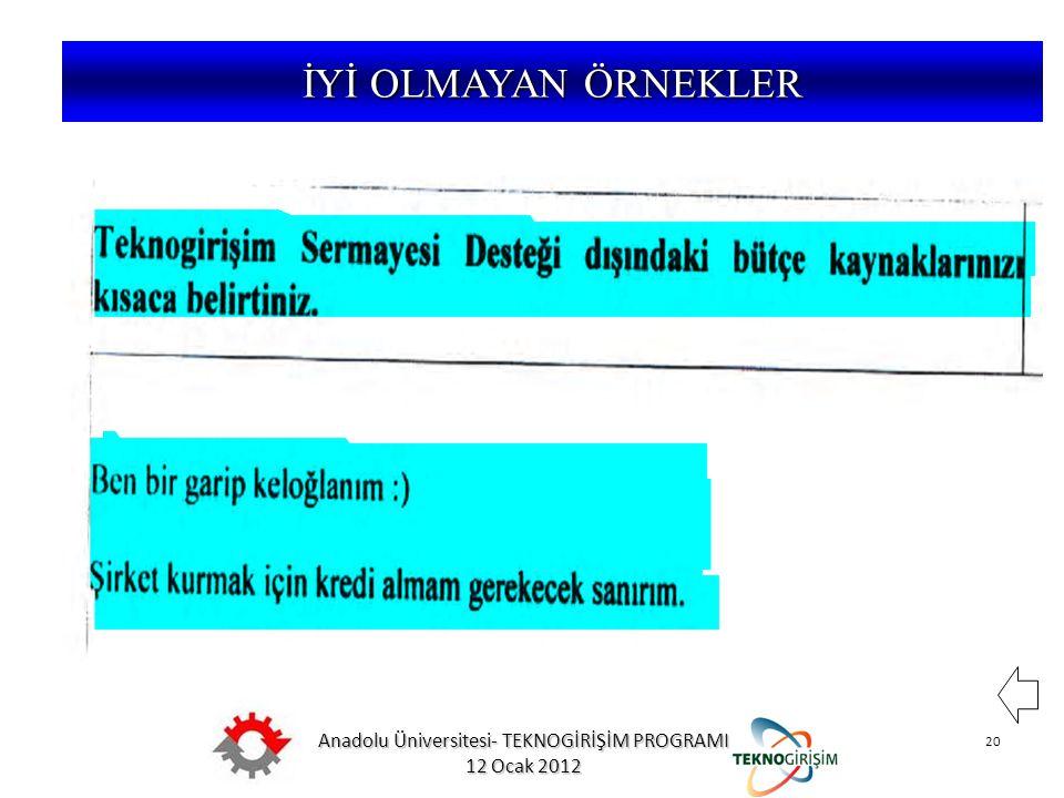 Anadolu Üniversitesi- TEKNOGİRİŞİM PROGRAMI 12 Ocak 2012 20 5746 SAYILI KANUN VE 26953 SAYILI YÖNETMELİK İYİ OLMAYAN ÖRNEKLER