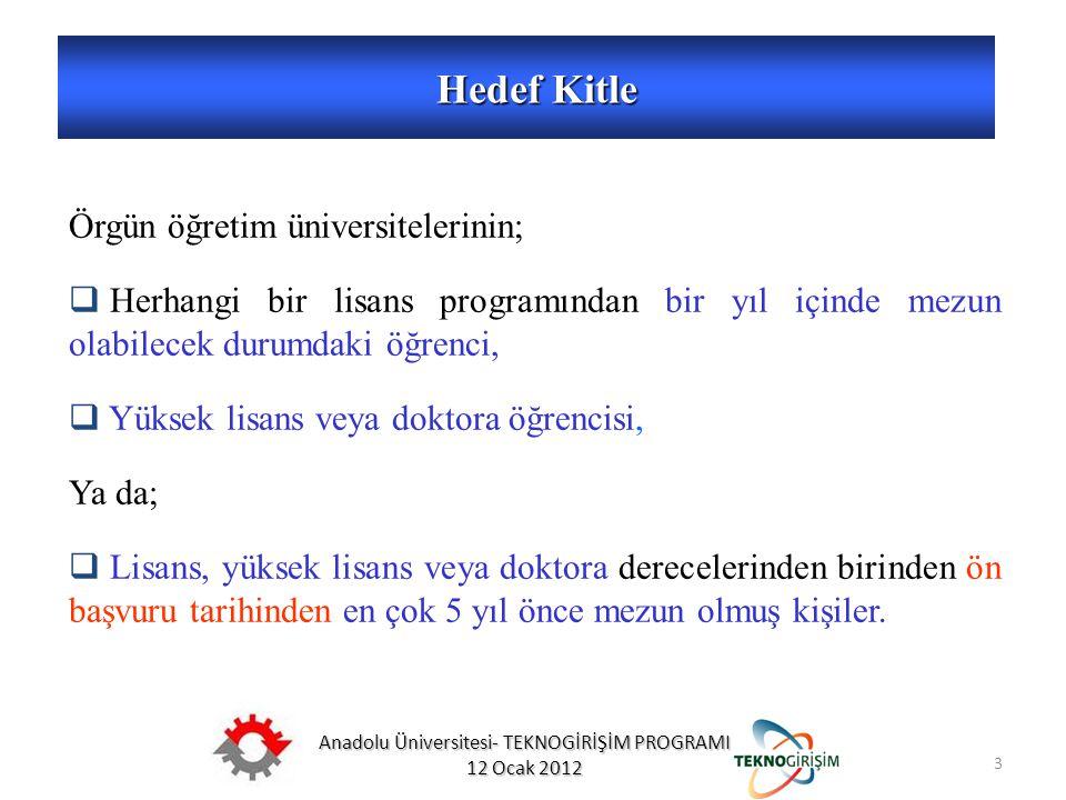 Anadolu Üniversitesi- TEKNOGİRİŞİM PROGRAMI 12 Ocak 2012 3 Hedef Kitle 5746 SAYILI KANUN VE 26953 SAYILI YÖNETMELİK Örgün öğretim üniversitelerinin; 