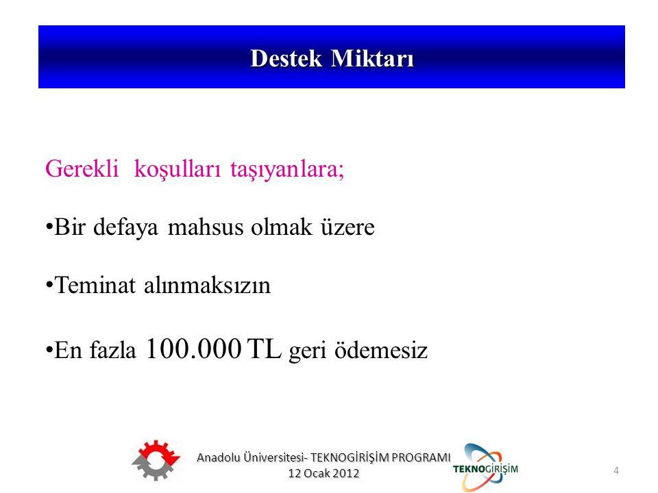 Anadolu Üniversitesi- TEKNOGİRİŞİM PROGRAMI 12 Ocak 2012 4 Destek Miktarı 5746 SAYILI KANUN VE 26953 SAYILI YÖNETMELİK Gerekli koşulları taşıyanlara;