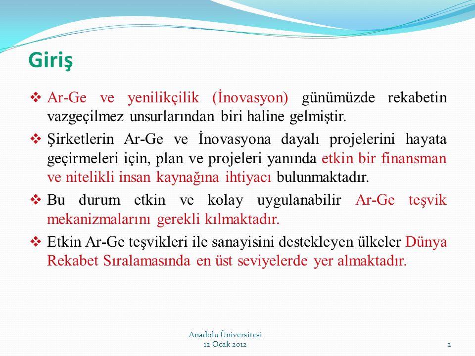 Teşekkürler Anadolu Üniversitesi 12 Ocak 201233 İletişim: Serdar İMAMOĞLU Makine Mühendisi Bilim ve Teknoloji Genel Müdürlüğü Tel : 0 (312) 201 52 79 e-posta: serdarim@sanayi.gov.tr