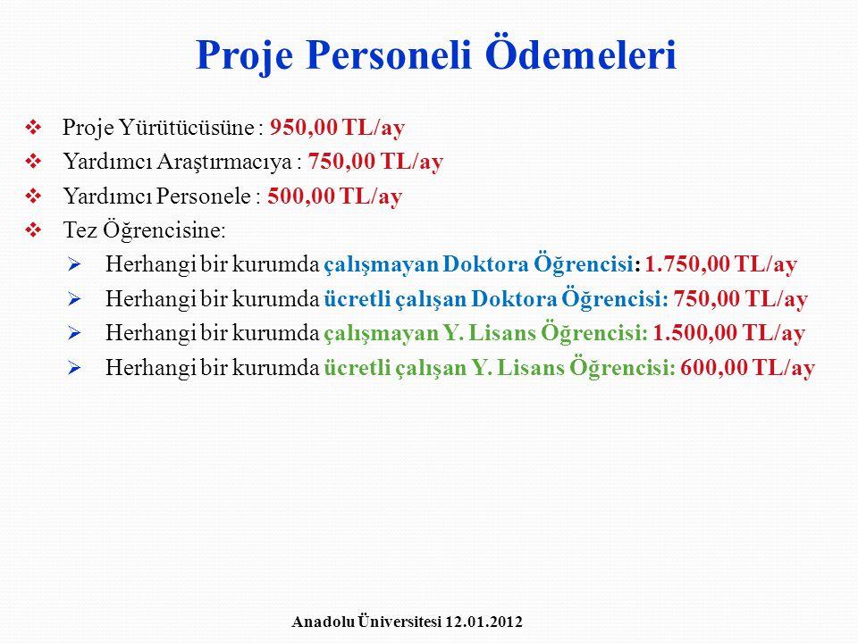 Proje Personeli Ödemeleri  Proje Yürütücüsüne : 950,00 TL/ay  Yardımcı Araştırmacıya : 750,00 TL/ay  Yardımcı Personele : 500,00 TL/ay  Tez Öğrenc