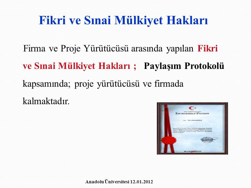 Fikri ve Sınai Mülkiyet Hakları Firma ve Proje Yürütücüsü arasında yapılan Fikri ve Sınai Mülkiyet Hakları ; Paylaşım Protokolü kapsamında; proje yürü