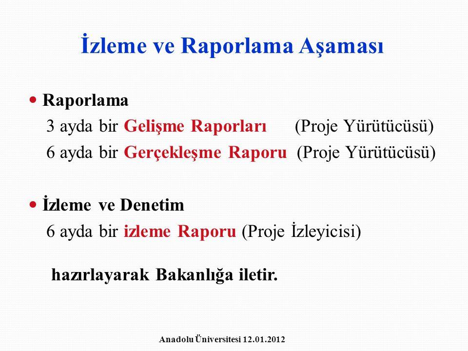 İzleme ve Raporlama Aşaması Raporlama 3 ayda bir Gelişme Raporları (Proje Yürütücüsü) 6 ayda bir Gerçekleşme Raporu (Proje Yürütücüsü) İzleme ve Denet