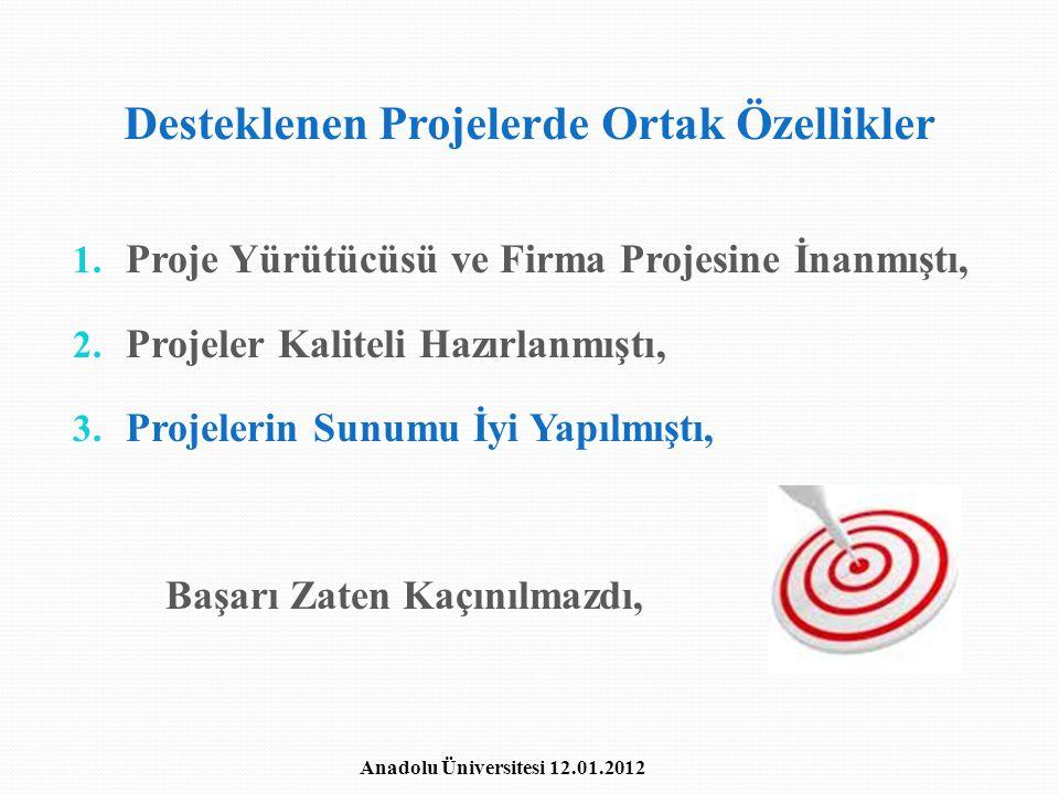 Desteklenen Projelerde Ortak Özellikler 1. Proje Yürütücüsü ve Firma Projesine İnanmıştı, 2. Projeler Kaliteli Hazırlanmıştı, 3. Projelerin Sunumu İyi