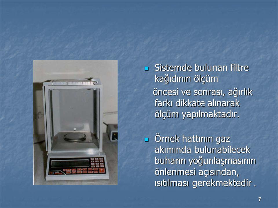 7 Sistemde bulunan filtre kağıdının ölçüm Sistemde bulunan filtre kağıdının ölçüm öncesi ve sonrası, ağırlık farkı dikkate alınarak ölçüm yapılmaktadı