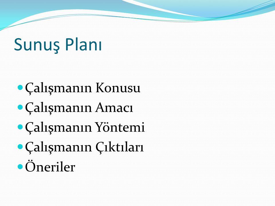 Sunuş Planı Çalışmanın Konusu Çalışmanın Amacı Çalışmanın Yöntemi Çalışmanın Çıktıları Öneriler