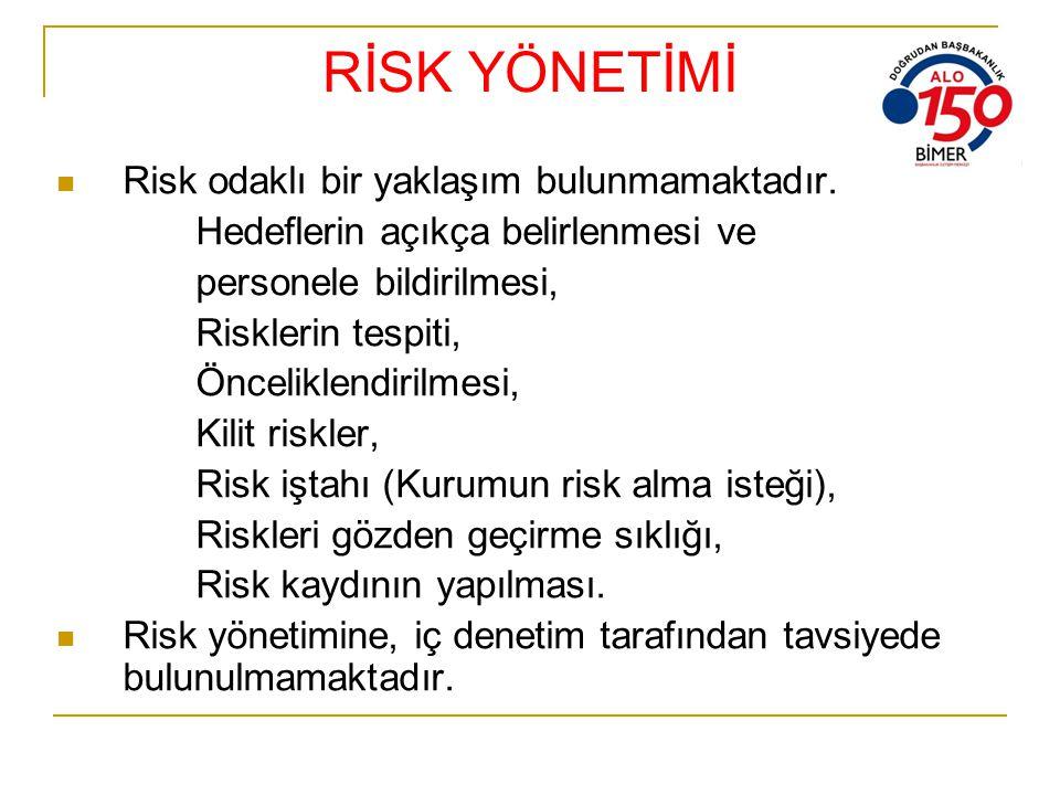 RİSK YÖNETİMİ Risk odaklı bir yaklaşım bulunmamaktadır. Hedeflerin açıkça belirlenmesi ve personele bildirilmesi, Risklerin tespiti, Önceliklendirilme