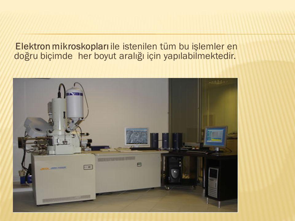 Elektron mikroskopları ile istenilen tüm bu işlemler en doğru biçimde her boyut aralığı için yapılabilmektedir.